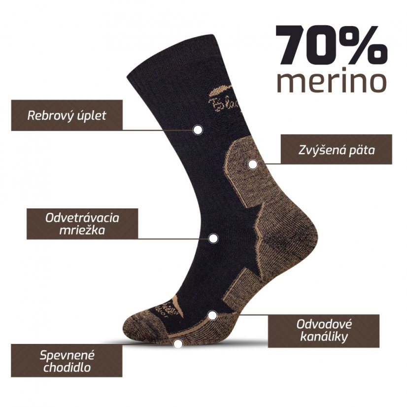 Merino socks Dumbier - Brown - Size: 43-47