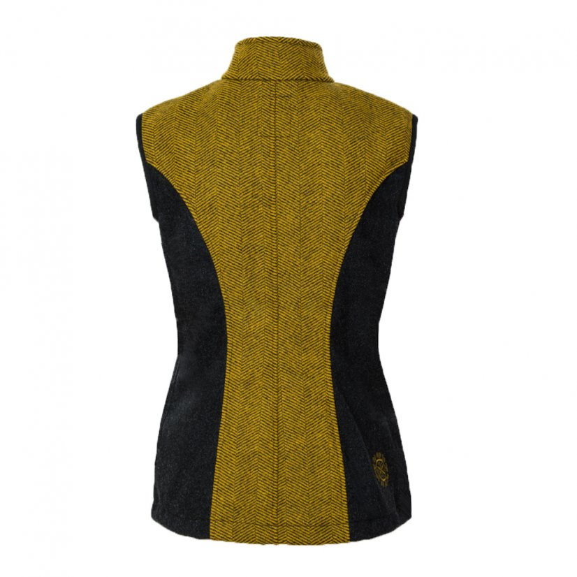 Ladies merino vest Zivena Khaki/Black - Size: XL