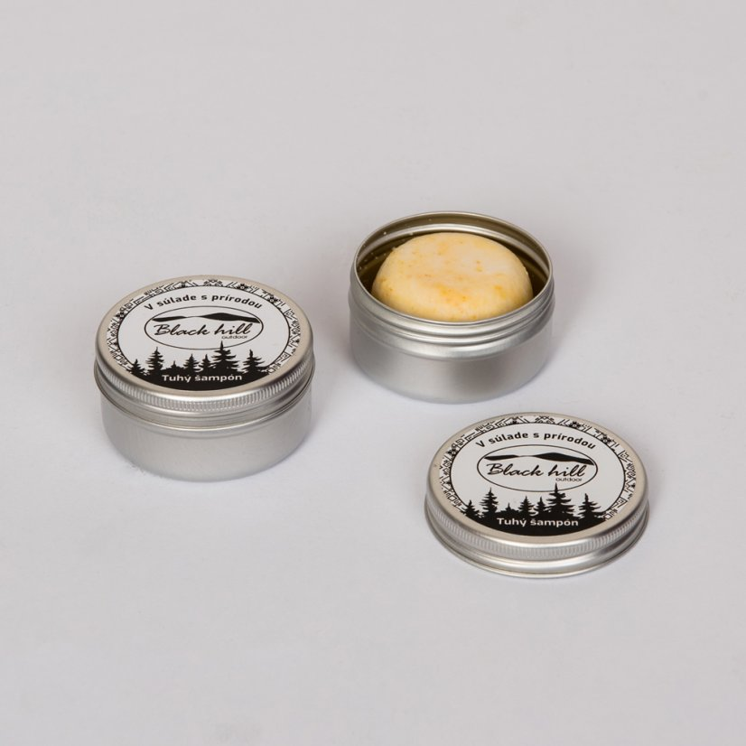 Travel shampoo in metal tin