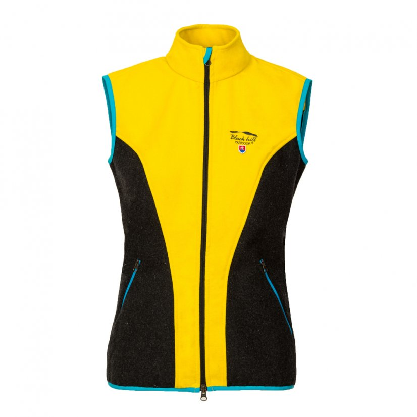 Ladies merino vest Zivena Yellow/Black - Size: XS