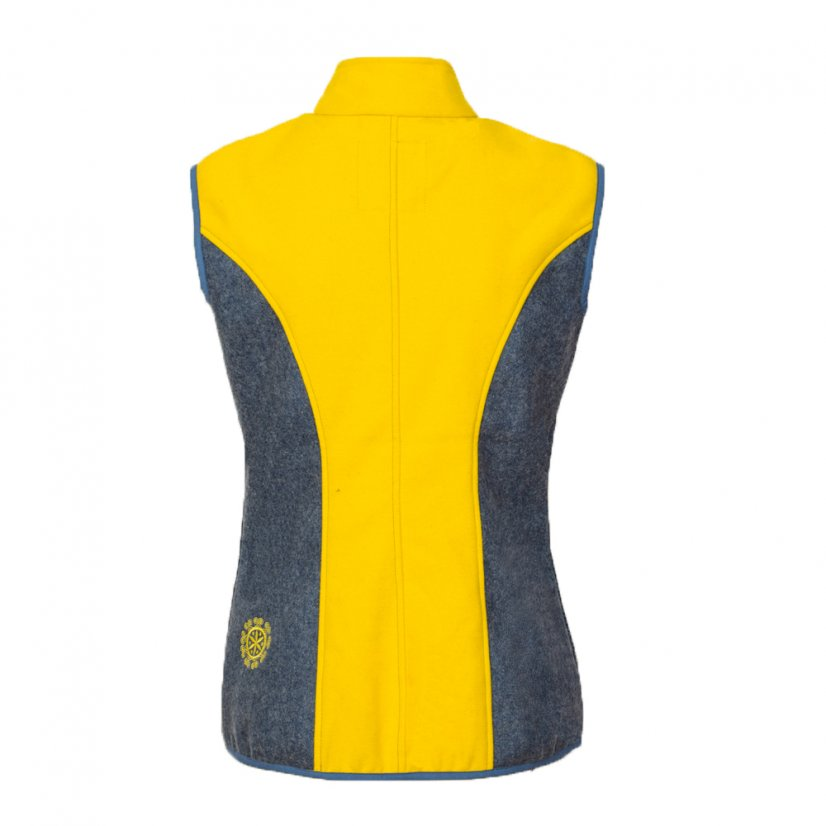 Ladies merino vest Zivena Yellow/Blue - Size: S
