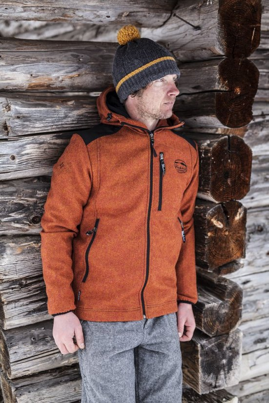 Men's merino jacket Goral Dark Orange - Size: XXXL
