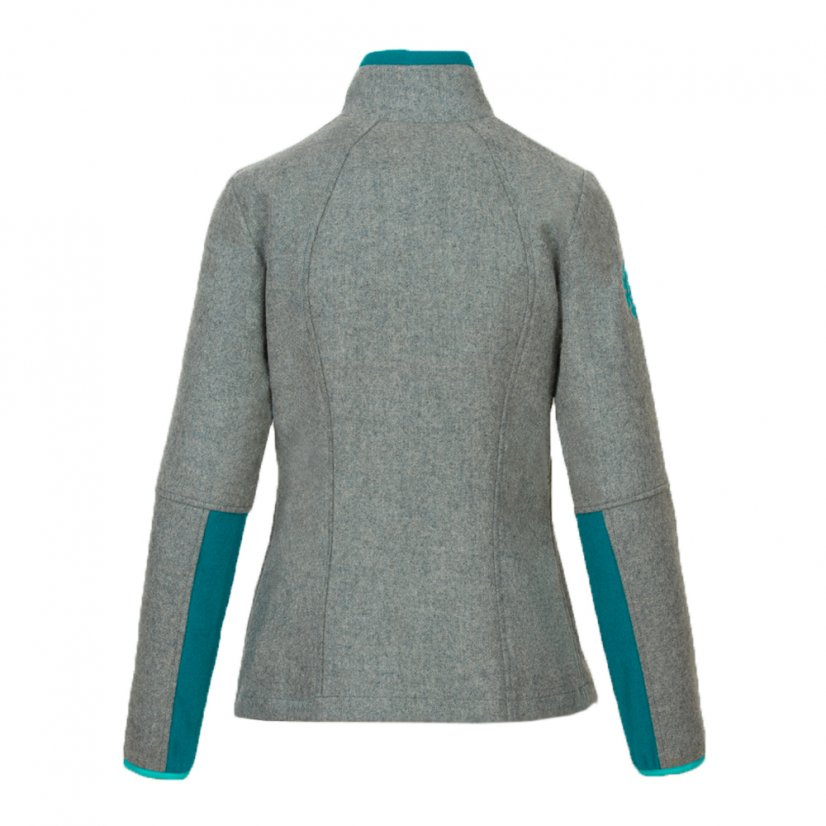 Ladies merino jacket Luna Gray/Turquoise - Size: XL